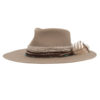 Ninakuru wool hat with frayed cotton, leather bands and feather.