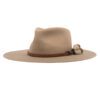 Ninakuru long brim wool hat with leather band, horsehair tassels. Leather interior band.