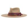 Ninakuru long brim wool hat with leather band, artisanal ribbon and variegated beads. Leather interior band.