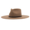 Ninakuru long brim wool hat with brown leather band and eyelets. Leather interior band.