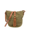 Cabuya straw bag with leather strap and tassel.