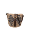 Ninakuru agave straw bag with leather strap, cotton canvas lining, leather pocket.