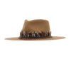 Ninakuru wool hat with leather band and game feathers.