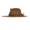 Ninakuru wool hat with vegan suede, beads and game feathers.