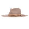 Ninakuru long brim wool hat with band, wrap and beads.