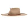 Ninakuru upturned long brim wool hat with leather band.