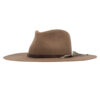 Ninakuru long brim wool hat with leather band, turquoise and game feather.